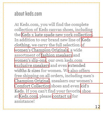 keds about page with links