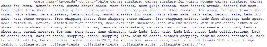 meta keywords keds